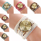 1pc Women Rivet Rhinestone Wrap Around Leatheroid Quartz Wristwatch Bling Watch