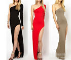 One shoulder sexy bodycon bandage stretch high side split slit maxi long dress