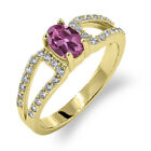 1.33 Ct Oval Natural Pink Tourmaline 18K Yellow Gold Ring