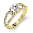 1.18 Ct Oval Natural White Mystic Quartz 14K Yellow Gold Ring