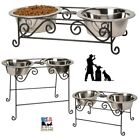 Wrought Iron DOG CAT FEEDER Metal Elevated Pet Food Water...