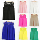 Free P&P!!Womens Summer Embroidery Sleeveless Lace Chiffon Top Shirt Blouse Vest
