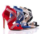 4 Color Rhinestones Strappy Dress 4.5'' High Heel Sandals Womens Dress Shoes