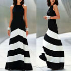 Lady New Stripe Long Cocktail Evening Party Skirt Women's Summer Maxi Dress Sexy