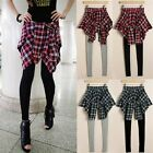 HOT! Women Fake Check Shirt Skirt Blouse Trousers Leisure Casual Pants Leggings