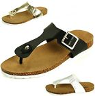 Womens T-Strap Sandals Open Toe Flip Flops Slip On Thongs Buckle Flats New Shoes