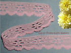 """6 Yards Lace Trim Pink Floral 3/4"""" Scalloped R05V Added Items Ship No Charge"""