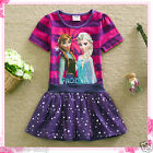 FROZEN Elsa & Anna Purples Princess Party Girls Flower Dresses SIZE 3-4-5-6-7-8Y