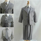 Silver/Dark Grey Chambray bridal party graduation boy formal suit vest pant tie