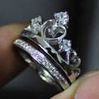 Size 5-8 Deluxe Lady's 925 Silver White Sapphire Crown Wedding Ring Set gift