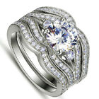 Size 6-11 Three-layer Womens 925 Silver White Sapphire Wedding 3-in-1 Ring Set