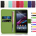 LEATHER WALLET BOOK FLIP SIDE OPENS CASE COVER FOR SONY XPERIA EXPERIA M2
