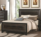 NEW DELANO CROCODILE LEATHER RUBBED BLACK FINISH WOOD QUEEN KING BED