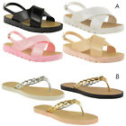 WOMENS LADIES SUMMER JELLY SANDALS FLIP FLOPS FLAT STRAPPY BEACH SHOES SIZE
