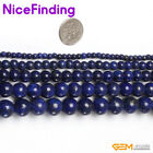 "Blue Smooth Lapis Lazuli Gemstone Round Beads For Jewelry Making Strand 15"" DIY"