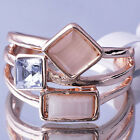 Fashion Womens White Gold Filled Opal Clear CZ Ring Size 5-10# H0324-H0329