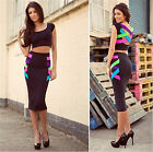 Womens Sexy Rainbow & Black Bandage Top + Skirt Slim Dress Set