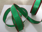 Green with Red Pom Pom / Snowball edge Christmas - Luxury Wire Edged Ribbon LOW