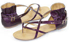 Purple Snake Skin Embossed Open Toe Strappy Flat Gladiator Women Shoes Qupid