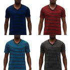 MENS V NECK STRIPED SHORT SLEEVE T SHIRT BLACK BLUE NAVY RED ADULT #MSS 410 IW
