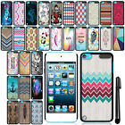 For Apple iPod Touch 5 6 SLIM FIT PATTERN HARD Case Back Cover + Pen