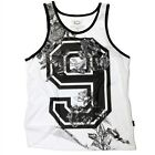 MEN'S ROSE # 9 JERSEY STYLE GRAPHIC PRINT ADULT TANK TOP BLACK WHITE