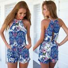 2015 Summer Sexy Women Jumpsuit Strap Sleeveless Blue Floral Rompers Jumpsuit
