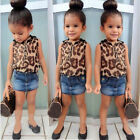 Kid Baby Girl Sleeveless Leopard Tops + Denim Mini Dress Suit 2Pcs Outfit 2-8Y A