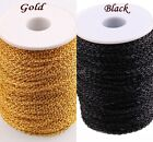 3/10M Black / Gold Color Cable Open Link Iron Metal Chain Jewelry  Findings DIY