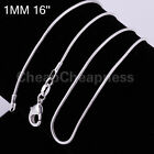 Hot Ladies Fad silver plated Snake Chain 1mm Snake Bone Pattern Necklace #