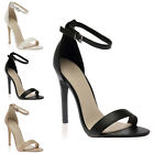 WOMENS CUT OUT LADIES SLIM BUCKLE BARELY THERE HIGH HEEL STILETTO SHOES SIZE 3-8