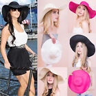 AP7 Ladies Womens Wide Brim Straw Floppy Large Foldable Summer Beach Hat Cap