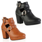 Ladies Faux Leather Womens High Heel Cut Out Platform Ankle Boots Shoes Size 3-8