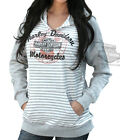Harley-Davidson Womens Raglan Striped Split-Neck Pullover Grey Terry Hoodie