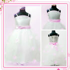 Pink White Communion Fancy Flower Girls Party Dresses SIZE 1-2-3-4-5-6-7-8-10-12