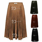 AP20 Womens Ladies Suede Pleated Flared Skater Vintage Knee Length Midi Skirt