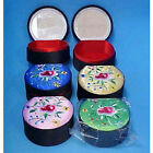 Mirrored Flower Embroidered Jewelry Box fnt