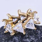 Unique style Womens Yellow Gold Filled Clear triangle CZ Pendant D6136