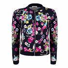 AP26 Womens Ladies Floral Print Zip Up Long Sleeve Bomber Jacket Coat Top Blazer