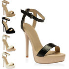 WOMENS CUT OUT BARELY THERE LADIES BUCKLE PLATFORM STILETTO HEEL SHOES SIZE 3-8