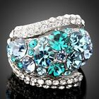 18k White Gold GP Fashion Blue green clear Swarovski Crystal Ring