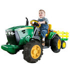 John Deere 12V Ride On Tractor and Trailer for Kids Featuring Working Radio