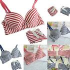 New Women Lady Cute Sexy Underwear Push Up Striped Bra Sets With Thong Panty J74