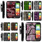 Heavy Duty  Camo Stand Hard Combo Holster Belt Clip Case LG Ultimate 2 / L70