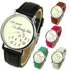 Who Cares Faux Leather Analog Wrist Watch Quartz Date 5 Colors Round Dial Band