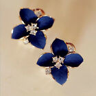 Women Elegant Stud Blue Flower Earrings Crystal Stud Lady Fashion Earrings Gifts