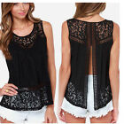 Sexy Chiffon Black Blouse Women Casual Backless Party Tops Lace Sleeveless Shirt