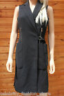 Karen Millen Softly Tailored Black Long Trench Gilet Dress Jacket Coat 14 42 New