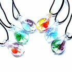 Fashion Dichroic Butterfly Flower Inside Murano Lampwork Glass Pendant Necklace