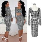 Vogue Womens Bodycon Two 2 Piece Midi Skirt Crop Top Set Houndstooth Print Dress